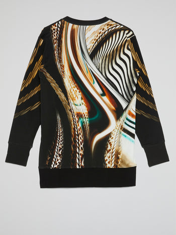 Feather Print V-Neck Pullover