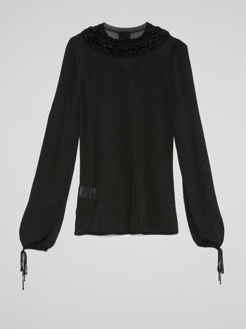 Black Drawstring Long Sleeve Top