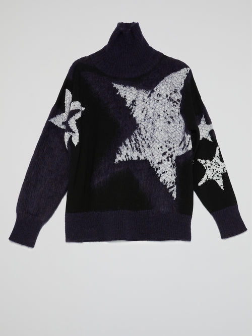 Star Print Turtleneck Sweater