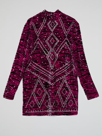 Pink Rhinestone Long Sleeve Dress