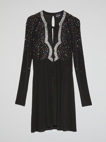 Black Multi-Studded Long Sleeve Dress