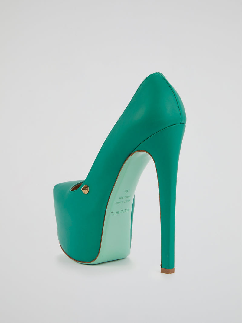 Apple Leather Platform Pumps