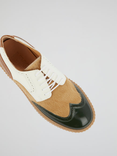 Colour Block Pony Hair Brogues