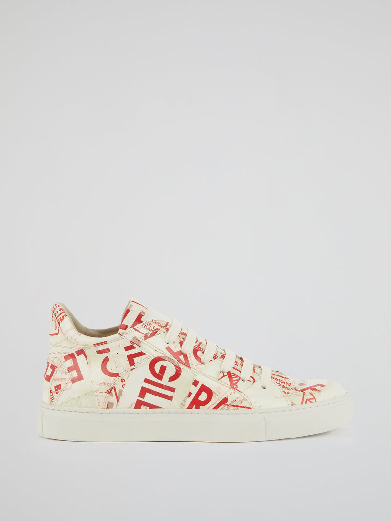 Text Print Lace Up Trainers