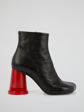 Black Leather Tabi Boots