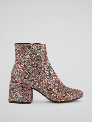 Glittered Block Heel Boots