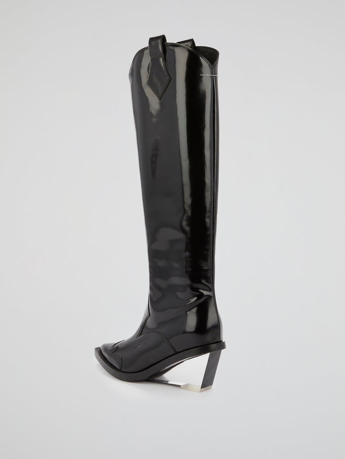 Black Leather Riding Boots