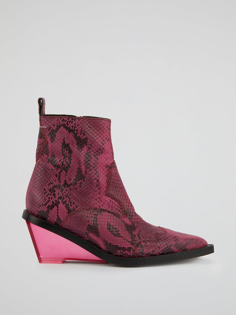 Pink Snake Effect Leather  Boots