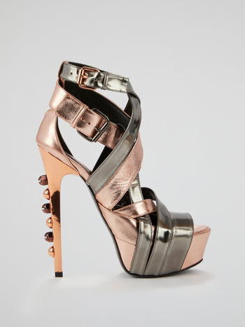 Horizon Metallic Cage Stilettos
