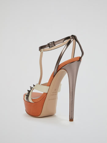 Naples Orange Spike Detail Stilettos