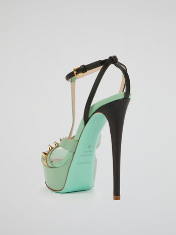 Naples Green Spike Detail Stilettos