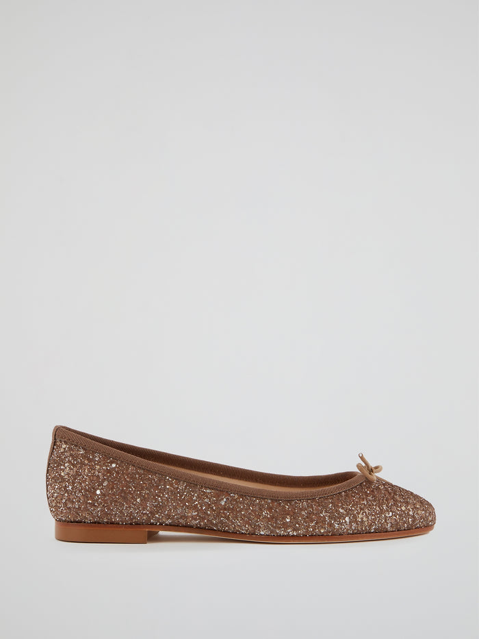 Brown Sparkling Ballerina Shoes