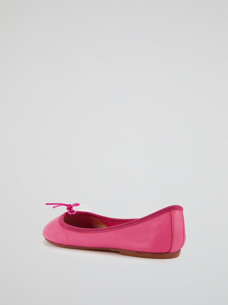 Pink Leather Ballerina Shoes