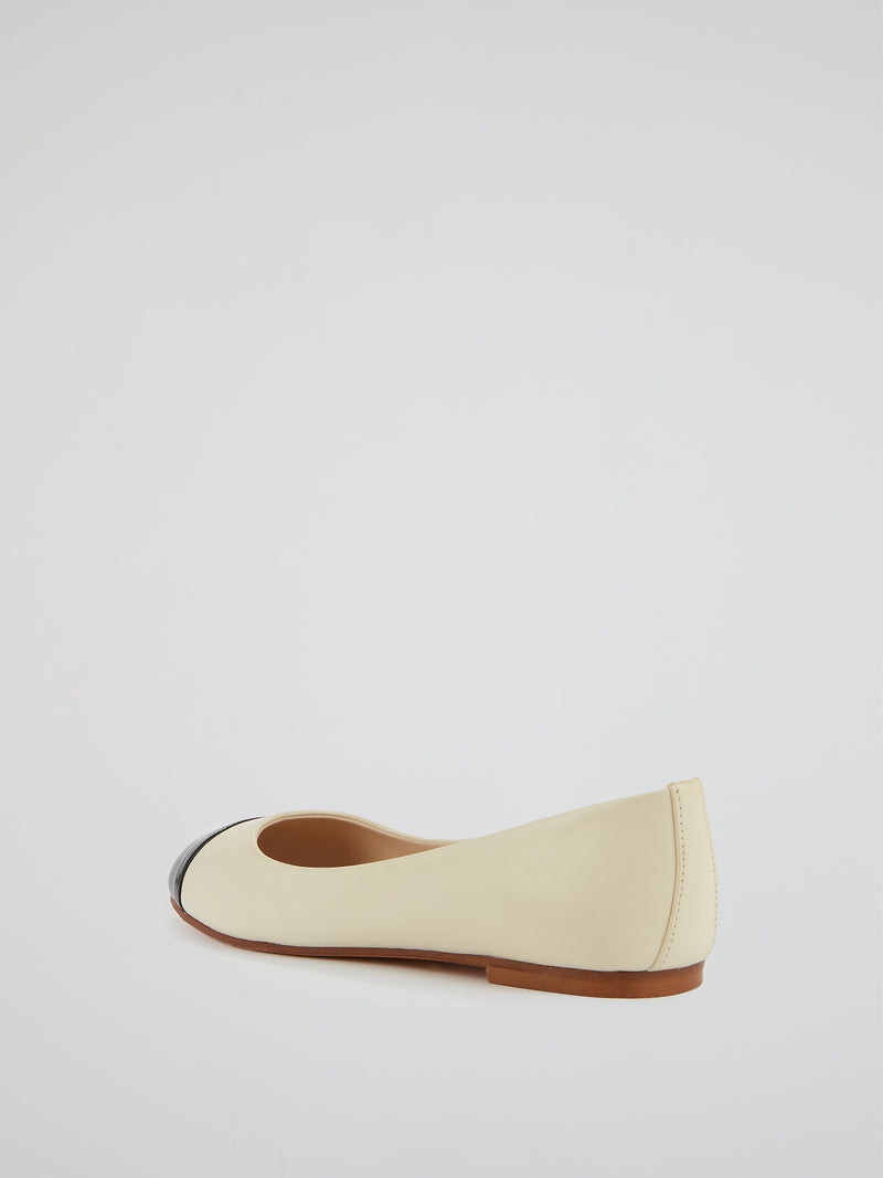 Contrast Leather Ballerina Shoes