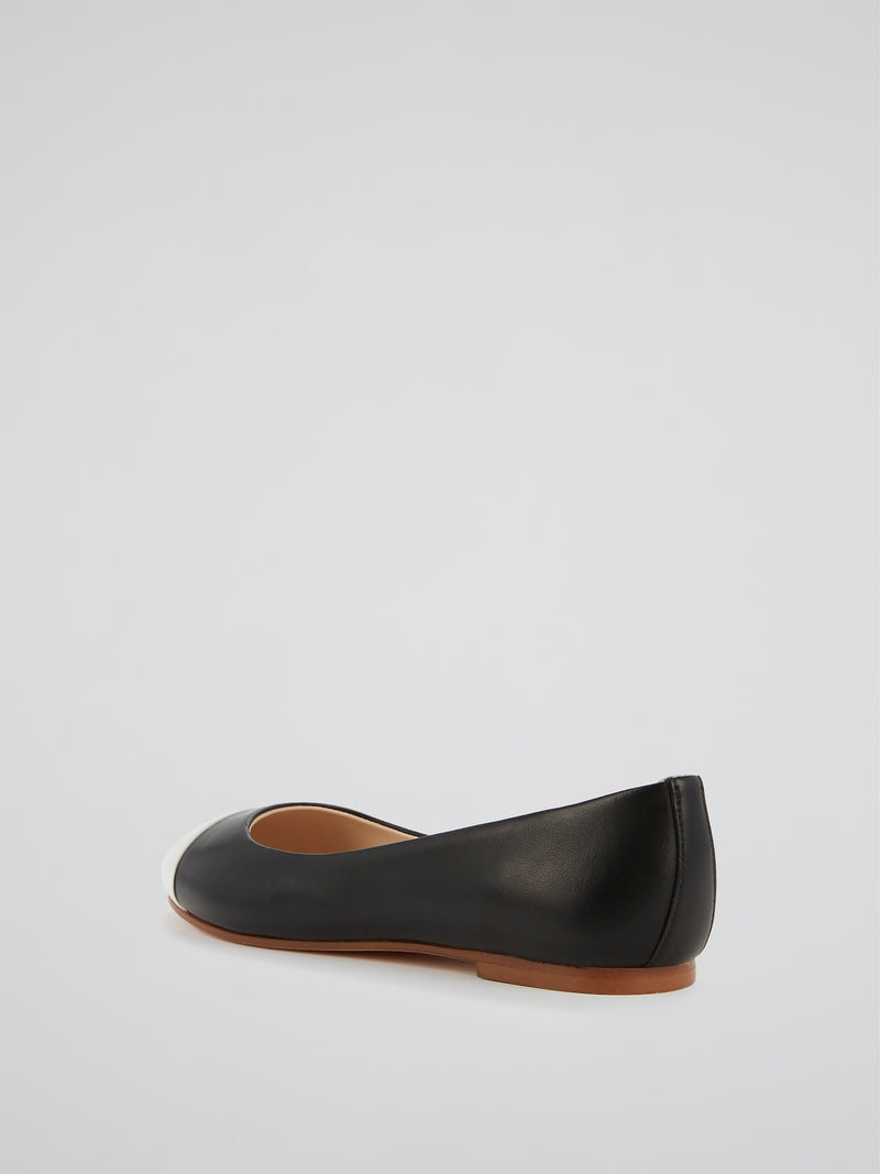 Contrast Toe Ballerina Shoes
