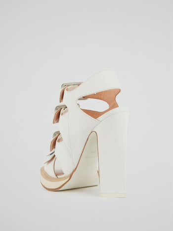 White Multi-Buckle Block Heel Sandals