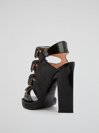 Black Multi-Buckle High Heel Sandals