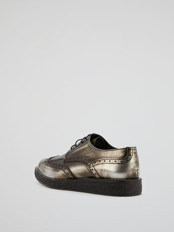 Silver Rustic Leather Brogues