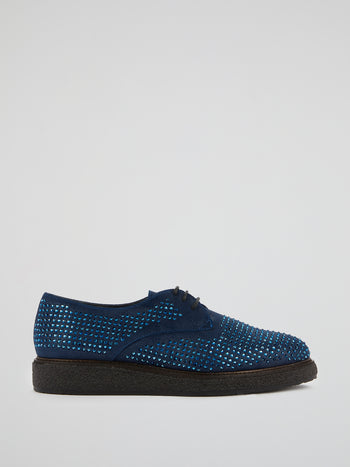 Navy Studded Derby Shoes