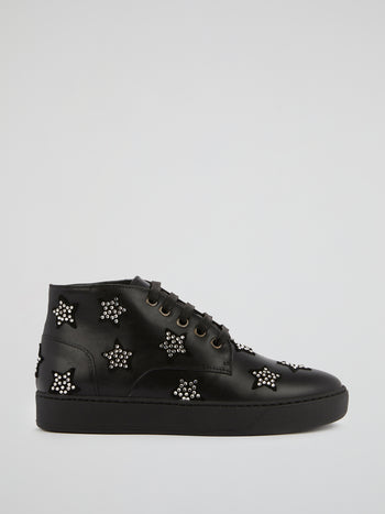 Black Strass Stars High Top Sneakers