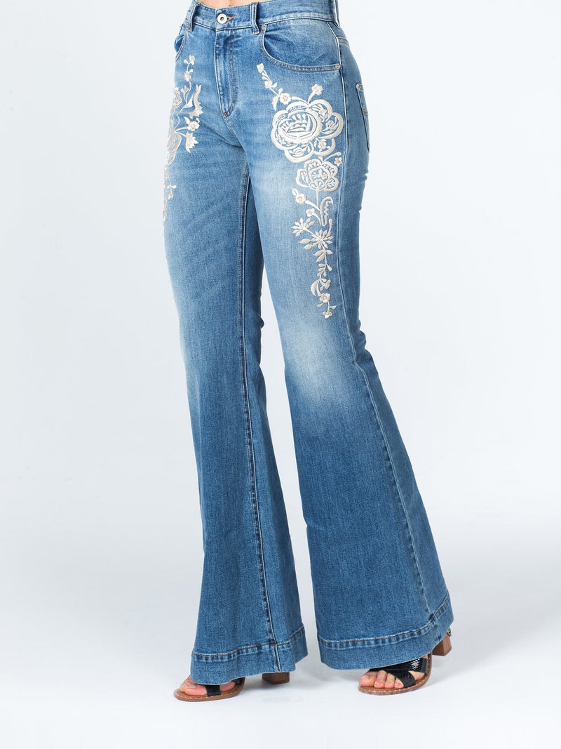 Floral Embroidered High Rise Flared Jeans