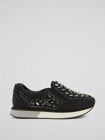 Black Merino Wool Crystal Sneakers