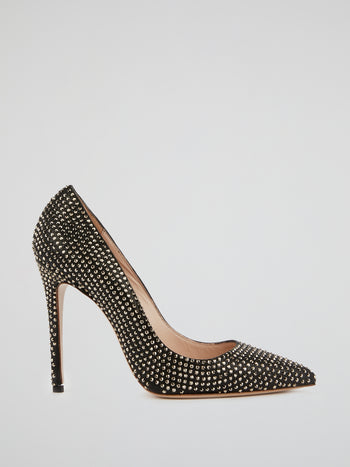 Black Studded Leather Pumps
