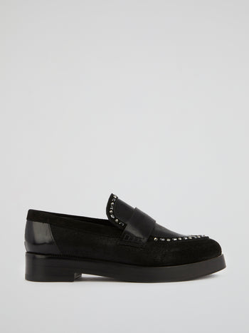 Black Crystal Leather Loafers