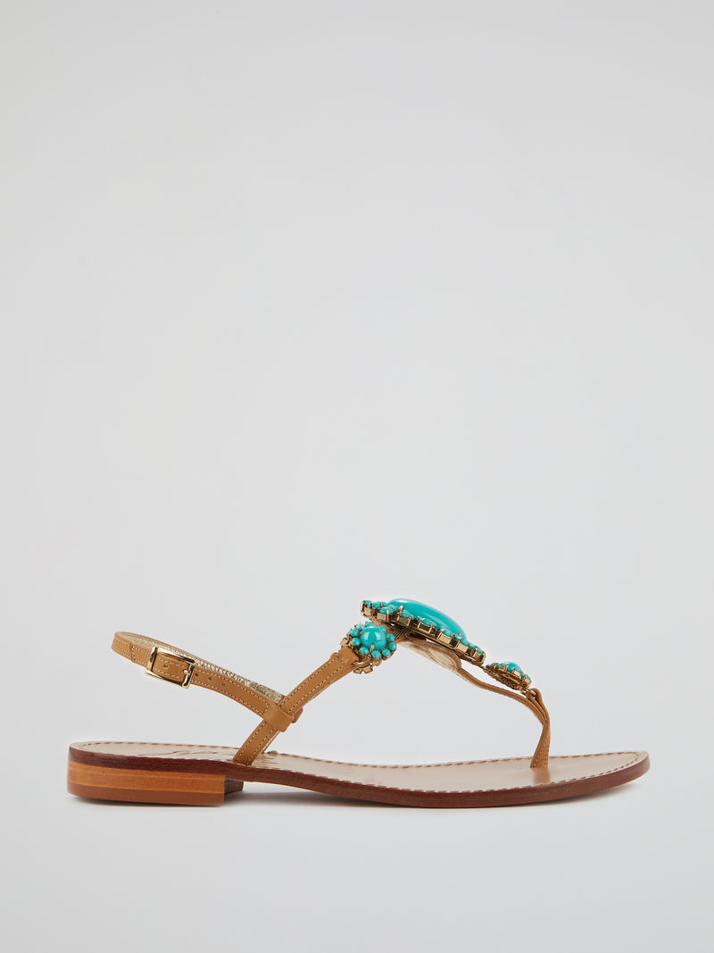 Nicolta Crystal Flat Sandals