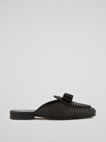 Black Woven Mules
