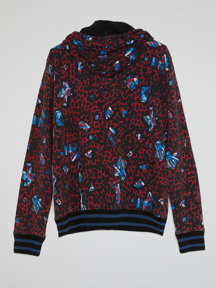 Jacquard Print Hooded Sweatshirt