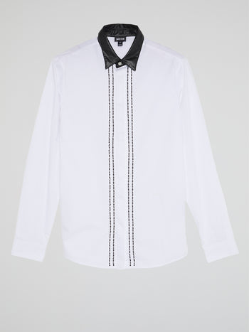 White Leather Collar Shirt