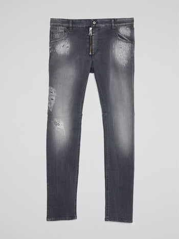 Grey Wash Distressed Pants