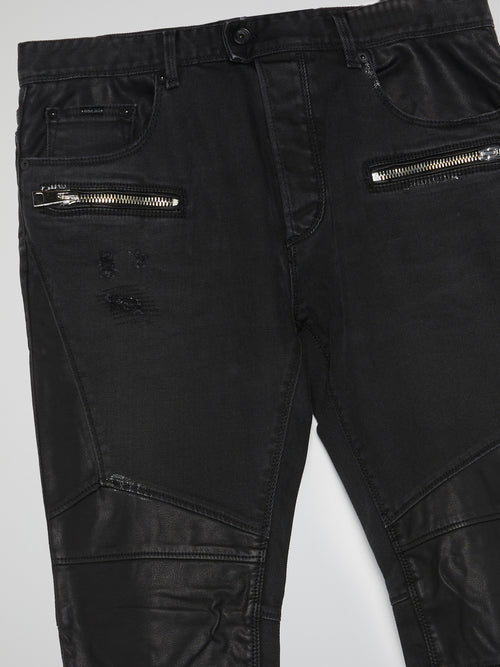 Black Leather Patch Trousers