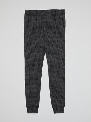 Grey Check Cuffed Pants
