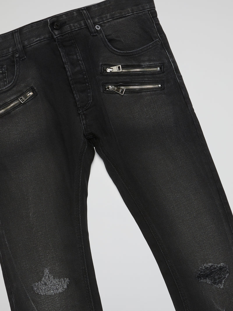 Black Zip Detail Distressed Jeans
