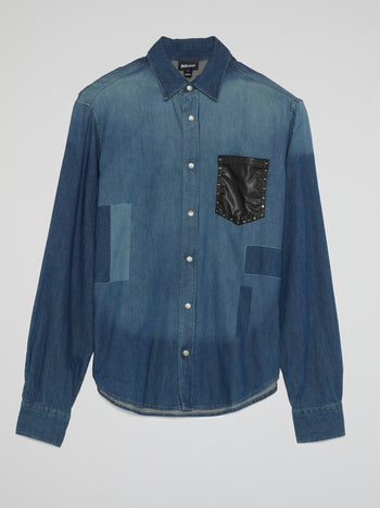 Blue Patched Denim Shirt