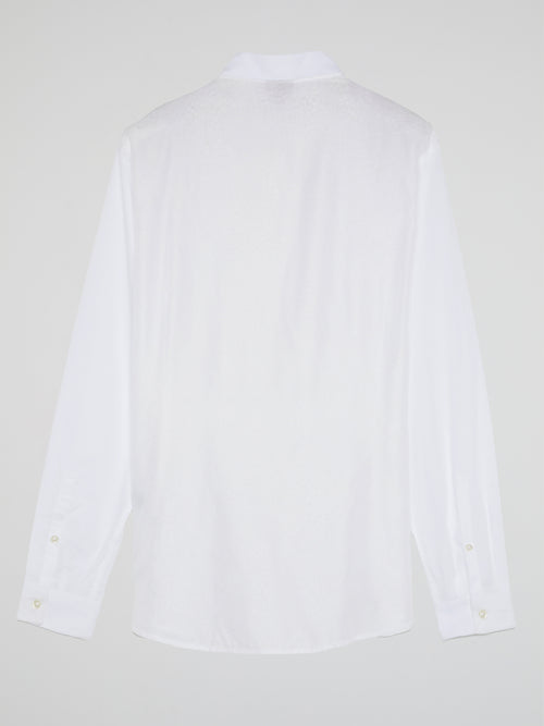 White Printed Long Sleeve Shirt