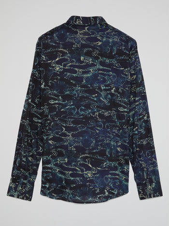 Navy Printed Button Up Shirt