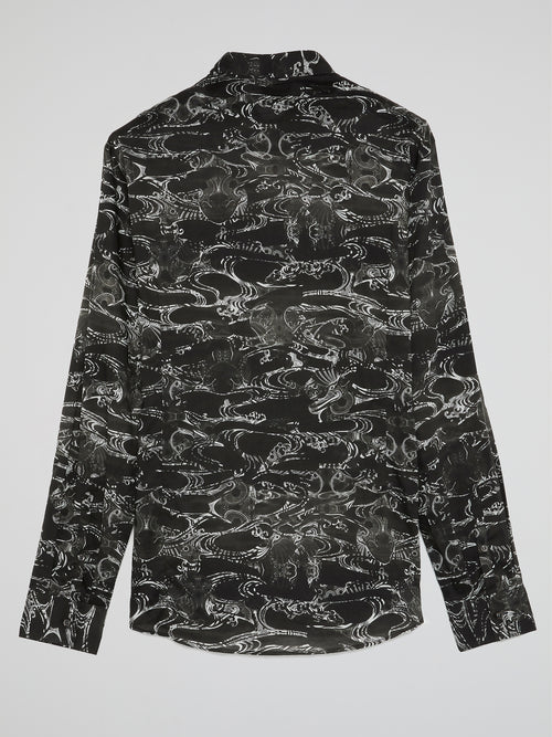 Black Printed Button Up Shirt