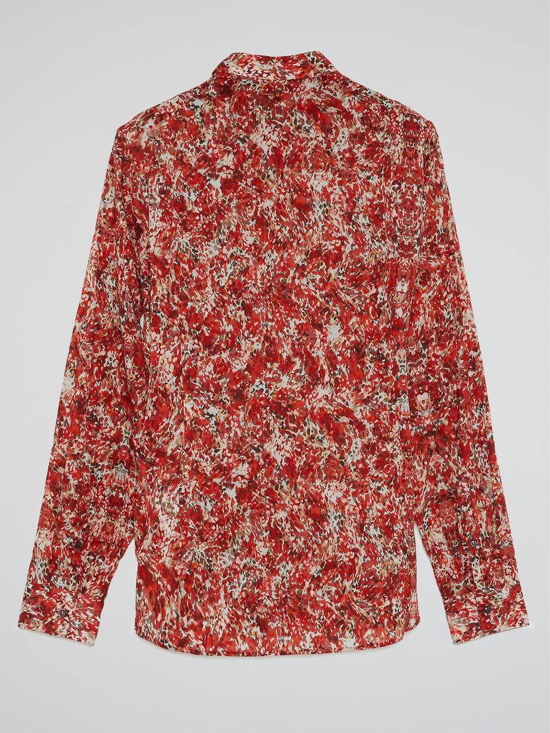 Red Printed Button Up Shirt