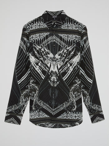 Black Pattern Print Long Sleeve Shirt
