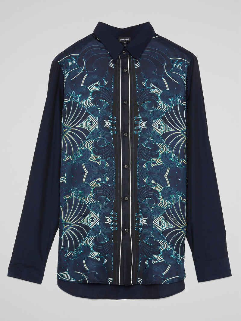 Navy Oriental Print Long Sleeve Shirt