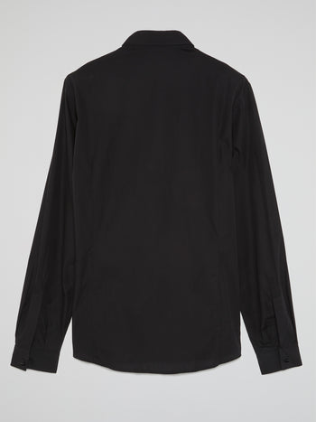 Black Embellished Bib Shirt