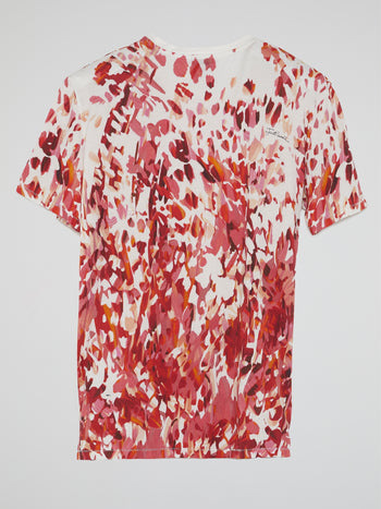 Red Abstract Print T-Shirt