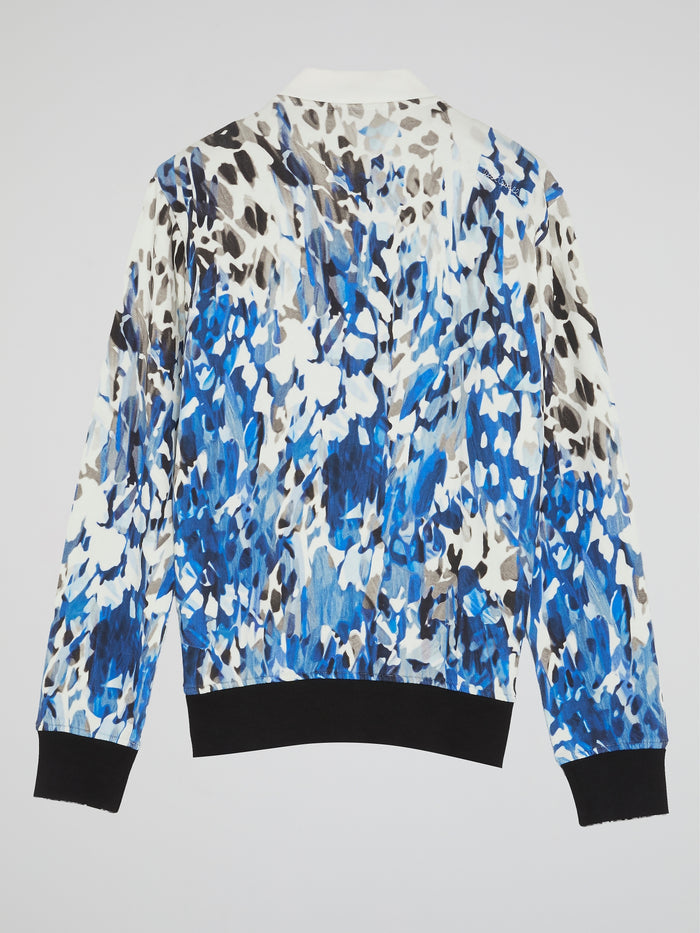 Blue Abstract Print Jacket