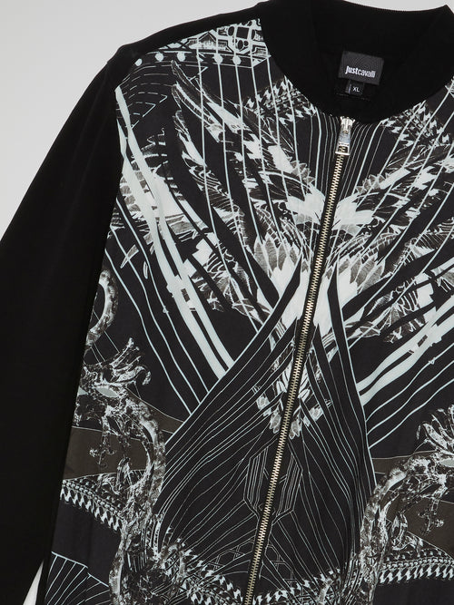 Black Printed Zip Up Sweatshirt