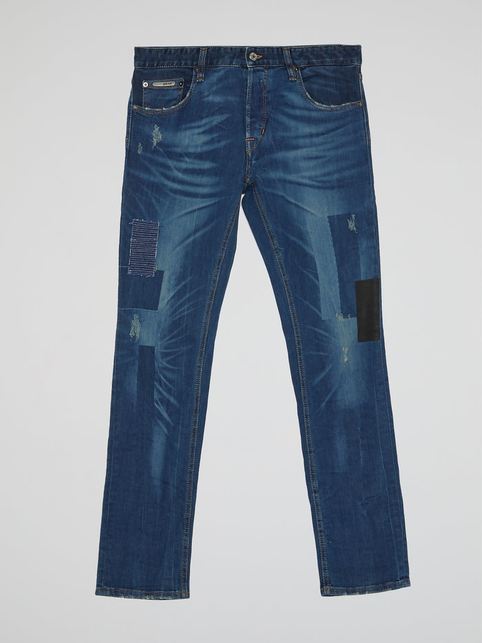 Navy Blue Patched Denim Trousers