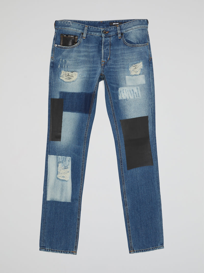 Distressed Patched Denim Jeans