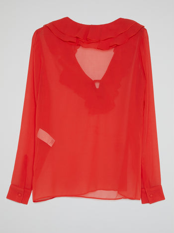 Red Frill Detail Blouse